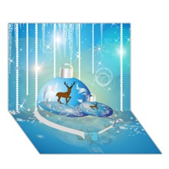 Wonderful Christmas Ball With Reindeer And Snowflakes Heart Bottom 3d Greeting Card (7x5)