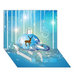 Wonderful Christmas Ball With Reindeer And Snowflakes Love Bottom 3d Greeting Card (7x5)