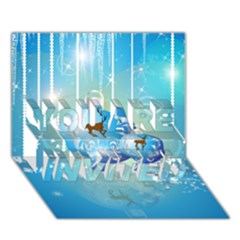 Wonderful Christmas Ball With Reindeer And Snowflakes YOU ARE INVITED 3D Greeting Card (7x5)