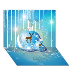 Wonderful Christmas Ball With Reindeer And Snowflakes Apple 3d Greeting Card (7x5)