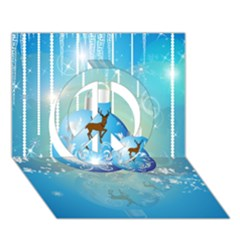 Wonderful Christmas Ball With Reindeer And Snowflakes Peace Sign 3d Greeting Card (7x5)