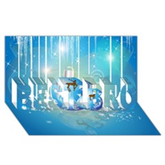 Wonderful Christmas Ball With Reindeer And Snowflakes BEST BRO 3D Greeting Card (8x4)
