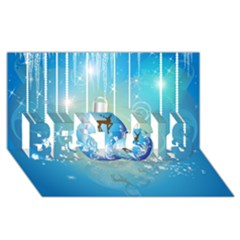 Wonderful Christmas Ball With Reindeer And Snowflakes Best Sis 3d Greeting Card (8x4)