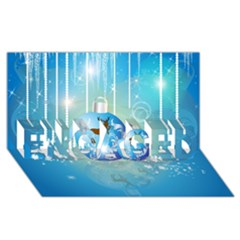 Wonderful Christmas Ball With Reindeer And Snowflakes ENGAGED 3D Greeting Card (8x4)