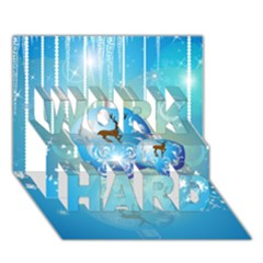 Wonderful Christmas Ball With Reindeer And Snowflakes WORK HARD 3D Greeting Card (7x5)