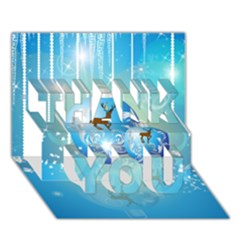 Wonderful Christmas Ball With Reindeer And Snowflakes THANK YOU 3D Greeting Card (7x5)