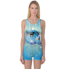 Wonderful Christmas Ball With Reindeer And Snowflakes Women s Boyleg One Piece Swimsuits