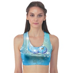Wonderful Christmas Ball With Reindeer And Snowflakes Sports Bra