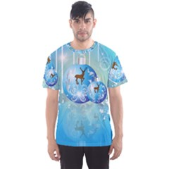 Wonderful Christmas Ball With Reindeer And Snowflakes Men s Sport Mesh Tees