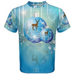 Wonderful Christmas Ball With Reindeer And Snowflakes Men s Cotton Tees