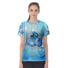 Wonderful Christmas Ball With Reindeer And Snowflakes Women s Sport Mesh Tees