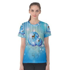 Wonderful Christmas Ball With Reindeer And Snowflakes Women s Cotton Tees
