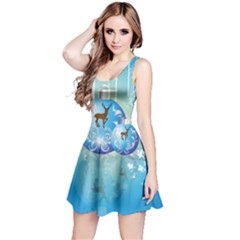 Wonderful Christmas Ball With Reindeer And Snowflakes Reversible Sleeveless Dresses