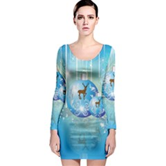 Wonderful Christmas Ball With Reindeer And Snowflakes Long Sleeve Bodycon Dresses