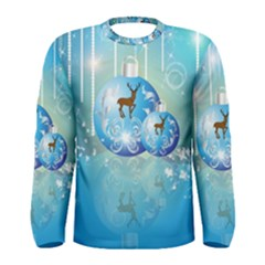 Wonderful Christmas Ball With Reindeer And Snowflakes Men s Long Sleeve T-shirts