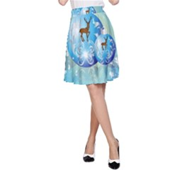 Wonderful Christmas Ball With Reindeer And Snowflakes A-Line Skirts