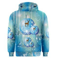 Wonderful Christmas Ball With Reindeer And Snowflakes Men s Pullover Hoodies