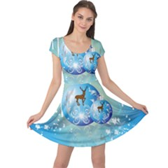 Wonderful Christmas Ball With Reindeer And Snowflakes Cap Sleeve Dresses
