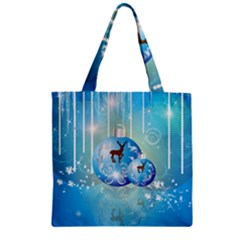 Wonderful Christmas Ball With Reindeer And Snowflakes Zipper Grocery Tote Bags