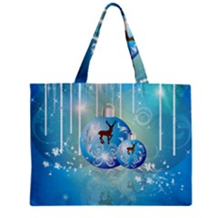 Wonderful Christmas Ball With Reindeer And Snowflakes Zipper Tiny Tote Bags