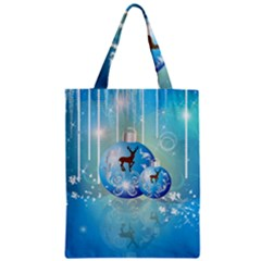 Wonderful Christmas Ball With Reindeer And Snowflakes Zipper Classic Tote Bags