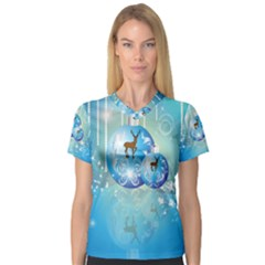 Wonderful Christmas Ball With Reindeer And Snowflakes Women s V Neck Sport Mesh Tee