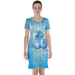 Wonderful Christmas Ball With Reindeer And Snowflakes Short Sleeve Nightdresses