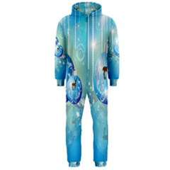 Wonderful Christmas Ball With Reindeer And Snowflakes Hooded Jumpsuit (Men)