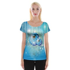 Wonderful Christmas Ball With Reindeer And Snowflakes Women s Cap Sleeve Top