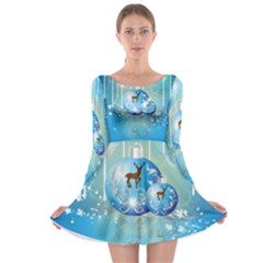 Wonderful Christmas Ball With Reindeer And Snowflakes Long Sleeve Skater Dress