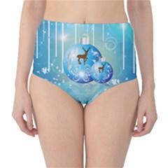 Wonderful Christmas Ball With Reindeer And Snowflakes High-Waist Bikini Bottoms