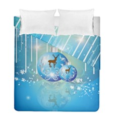 Wonderful Christmas Ball With Reindeer And Snowflakes Duvet Cover (twin Size)