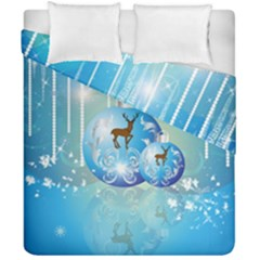 Wonderful Christmas Ball With Reindeer And Snowflakes Duvet Cover (double Size)