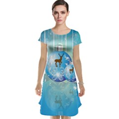 Wonderful Christmas Ball With Reindeer And Snowflakes Cap Sleeve Nightdresses