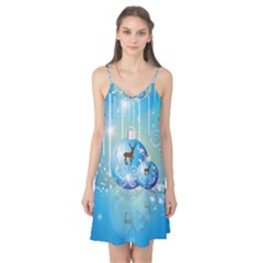 Wonderful Christmas Ball With Reindeer And Snowflakes Camis Nightgown