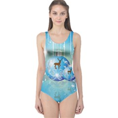 Wonderful Christmas Ball With Reindeer And Snowflakes Women s One Piece Swimsuits