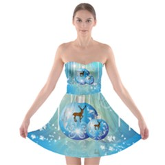 Wonderful Christmas Ball With Reindeer And Snowflakes Strapless Bra Top Dress