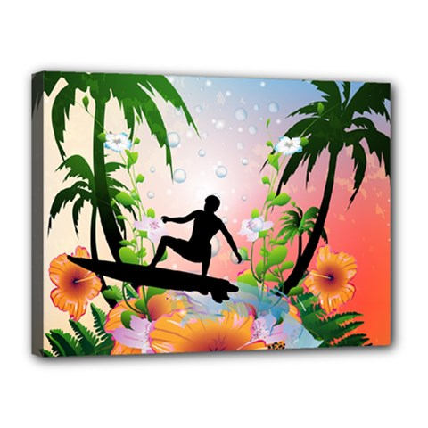 Tropical Design With Surfboarder Canvas 16  x 12