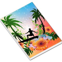 Tropical Design With Surfboarder Large Memo Pads