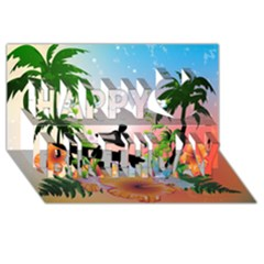 Tropical Design With Surfboarder Happy Birthday 3D Greeting Card (8x4)