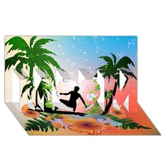 Tropical Design With Surfboarder MOM 3D Greeting Card (8x4)