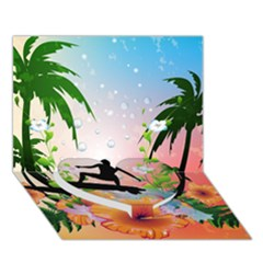 Tropical Design With Surfboarder Heart Bottom 3d Greeting Card (7x5)