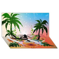 Tropical Design With Surfboarder Twin Heart Bottom 3D Greeting Card (8x4)
