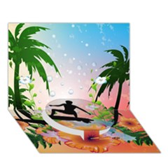 Tropical Design With Surfboarder Circle Bottom 3D Greeting Card (7x5)