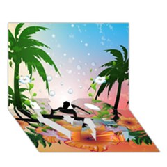 Tropical Design With Surfboarder Love Bottom 3d Greeting Card (7x5)
