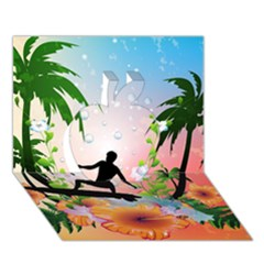 Tropical Design With Surfboarder Apple 3d Greeting Card (7x5)