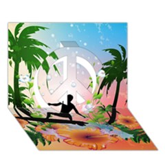 Tropical Design With Surfboarder Peace Sign 3D Greeting Card (7x5)