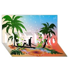 Tropical Design With Surfboarder BEST BRO 3D Greeting Card (8x4)