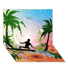 Tropical Design With Surfboarder Circle 3d Greeting Card (7x5)