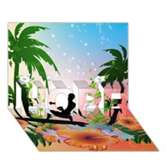 Tropical Design With Surfboarder Hope 3d Greeting Card (7x5)